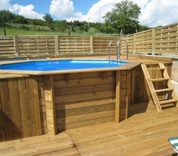 Piscina de madera 430cm x 120cm piscinas athena for Madera para piscinas