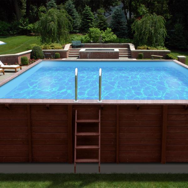 Piscina de madera 834cm x 492cm x 138cm piscinas athena for Piscina madera rectangular