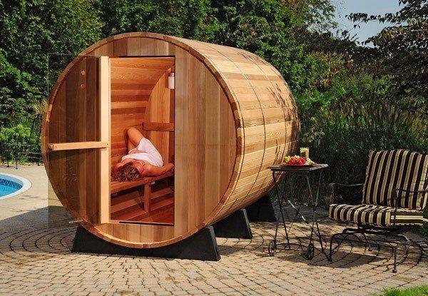 sauna de barril exterior de 4 personas piscinas athena. Black Bedroom Furniture Sets. Home Design Ideas
