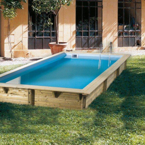 Piscina de madera 505cm x 350cm x 126cm piscinas athena for Piscina madera rectangular