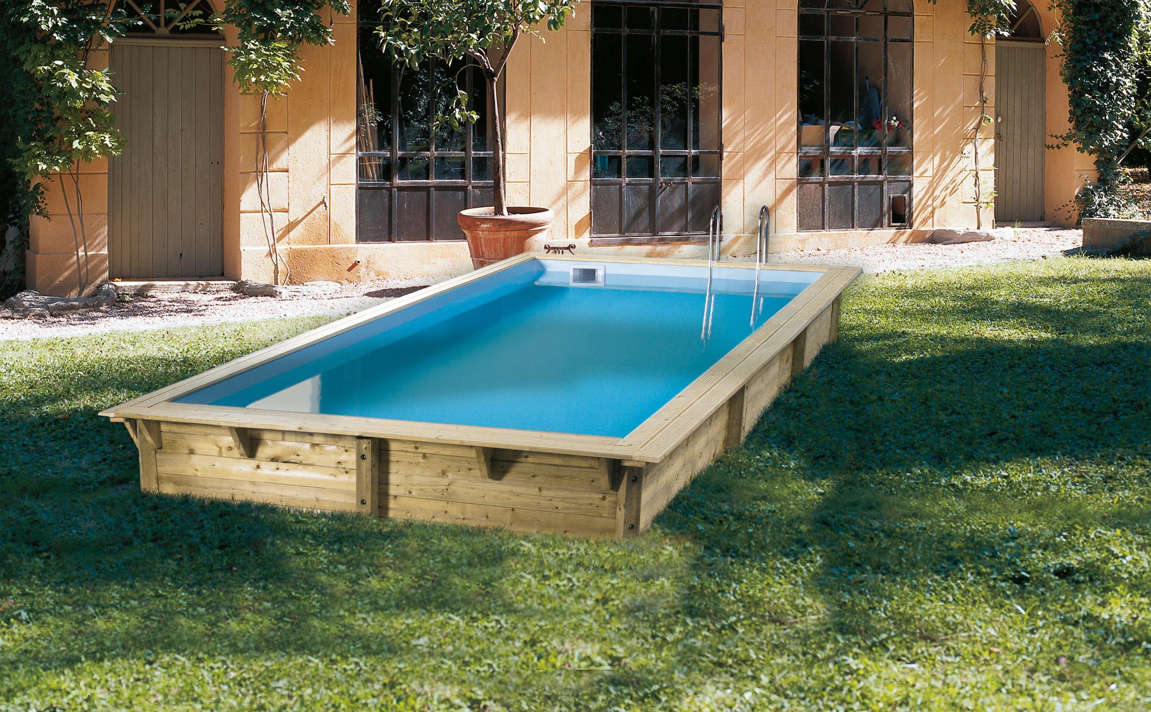 Piscina de madera 505cm x 350cm x 126cm piscinas athena for Ofertas piscinas desmontables rectangulares