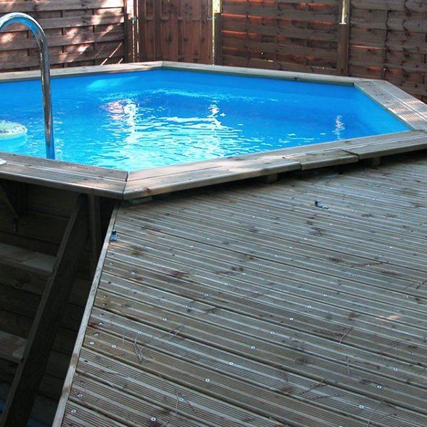 Piscina de madera 410cm x 120cm piscinas athena for Piscinas athena
