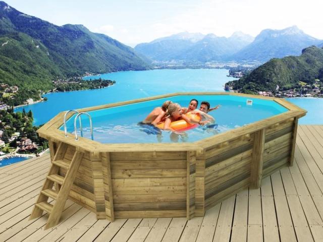 Piscina de madera 486cm x 336cm x 120cm piscinas athena for Piscina oferta carrefour
