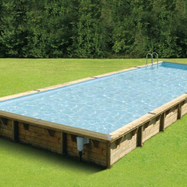 Piscina de madera 1100cm x 500cm x 140cm piscinas athena for Piscina madera rectangular
