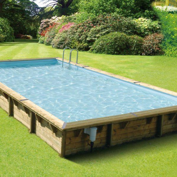 Piscina de madera 800cm x 500cm x 140cm piscinas athena for Piscina madera rectangular