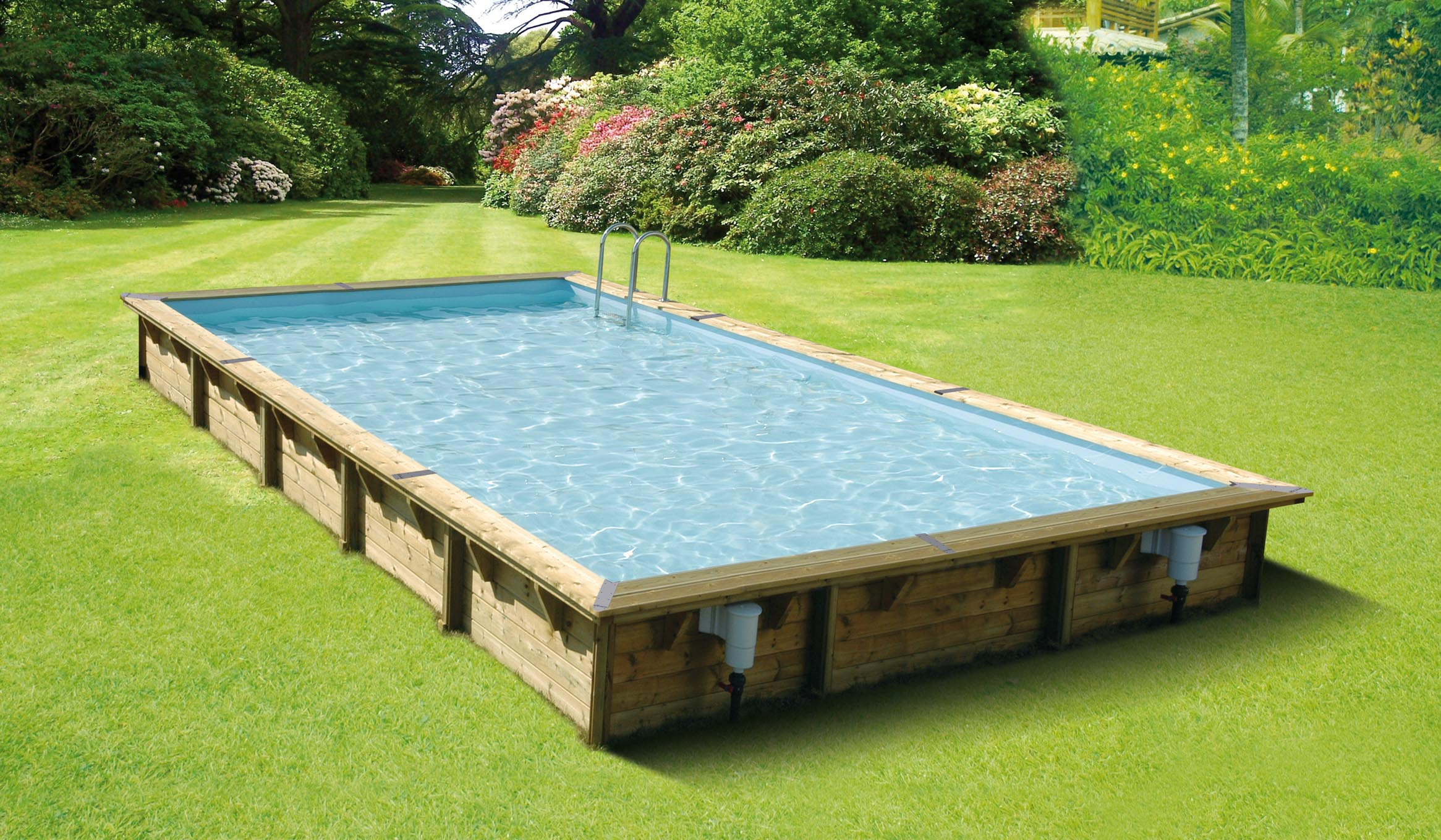 Piscina de madera 800cm x 500cm x 140cm piscinas athena - Piscina madera rectangular ...