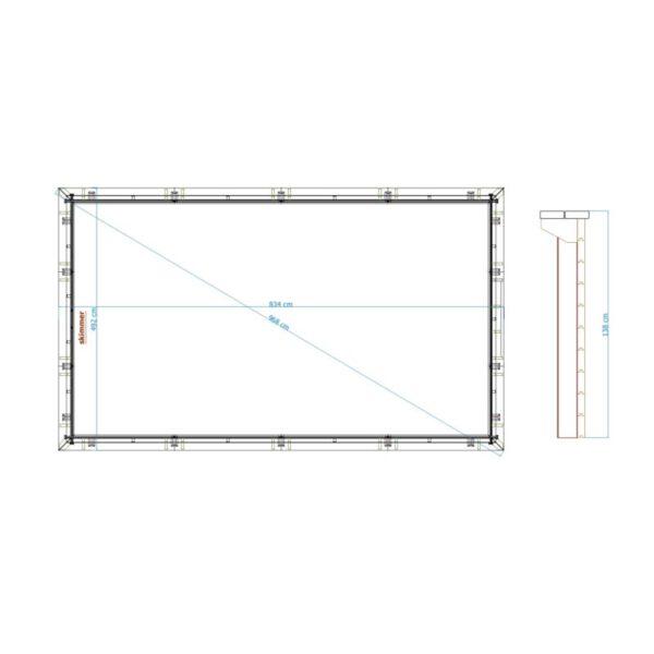 imagen plano piscina de madera 834cm x 492cm x 138cm