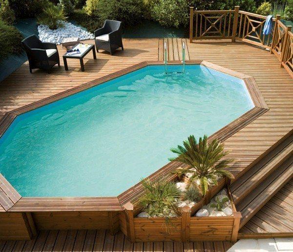 Piscina de madera 610cm x 400cm x 120cm piscinas athena for Terrazas para piscinas elevadas