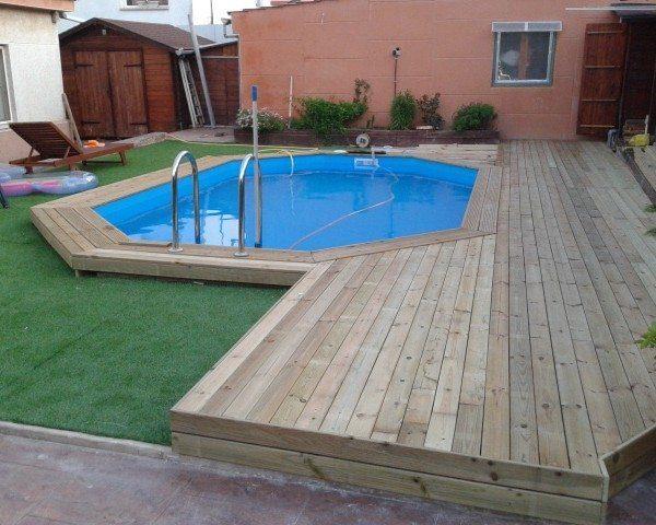 Piscina de madera 480cm x 330cm x 130cm piscinas athena - Piscinas de madera semienterradas ...