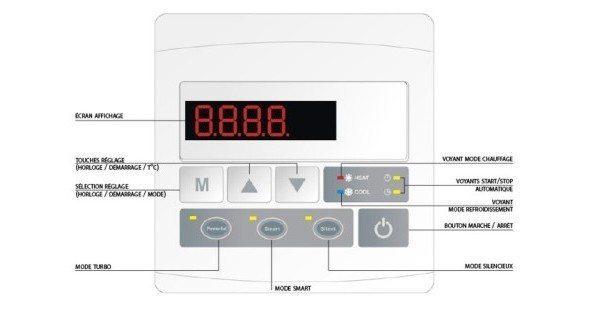 imagen display bomba de calor piscina nova inverter 7Kw