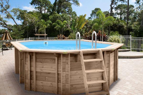 Piscina de madera 698cm x 467cm x 138cm piscinas athena for Cora piscine