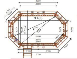 vista piscina de madera nika 3,50 x 2,15 medidas
