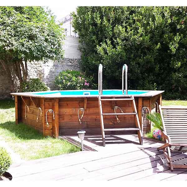imagen piscina de madera Azura con enganches de cubierta