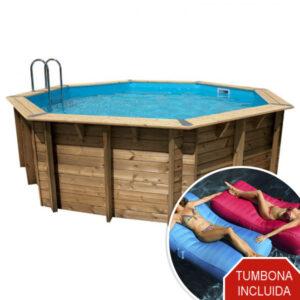 piscina de madera 580 cm x 130 cm vista