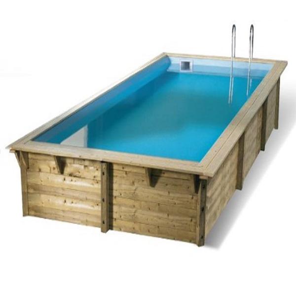 Piscina de madera sun rectangular 5 55 x 3 00 x 1 40m for Piscinas online ofertas