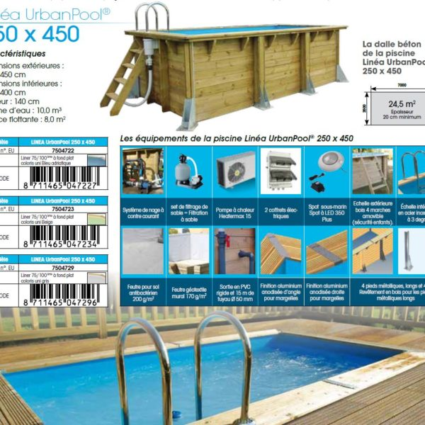 Piscina De Madera Urban Pool 4 50 X 2 50 X 1 40m