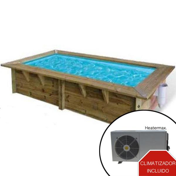 Piscina de madera climatizada rectangular piscinas athena for Piscinas online ofertas