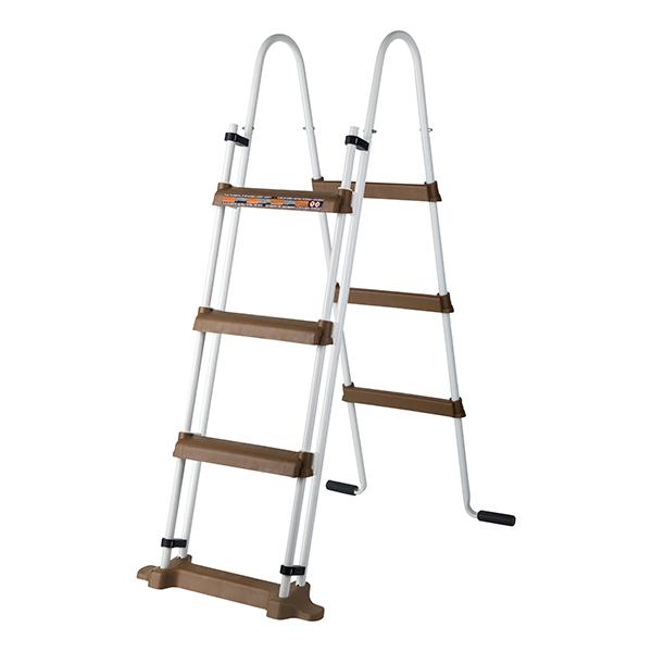 escalera de seguridad piscinas de GRE imitación madera