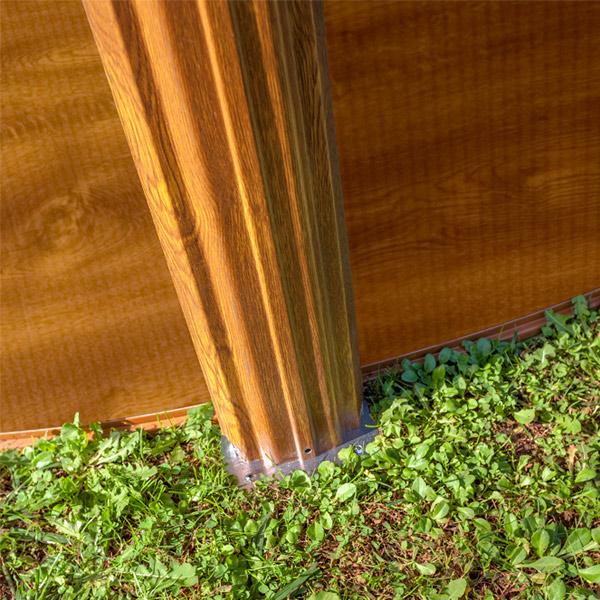perfil de acero piscina imitación madera